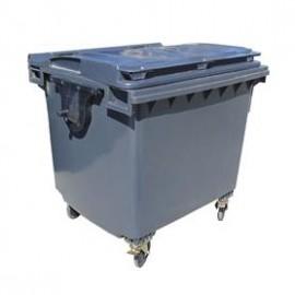 Container plastic negru cu capac drept 1100 L